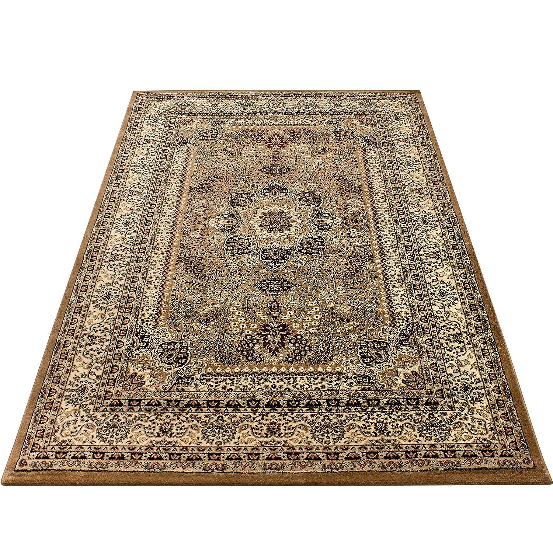 Orientteppich Wohnzimmer Klassische Optik Orientalisch Ornamente Beige Schwarz, Maße:300x400 cm