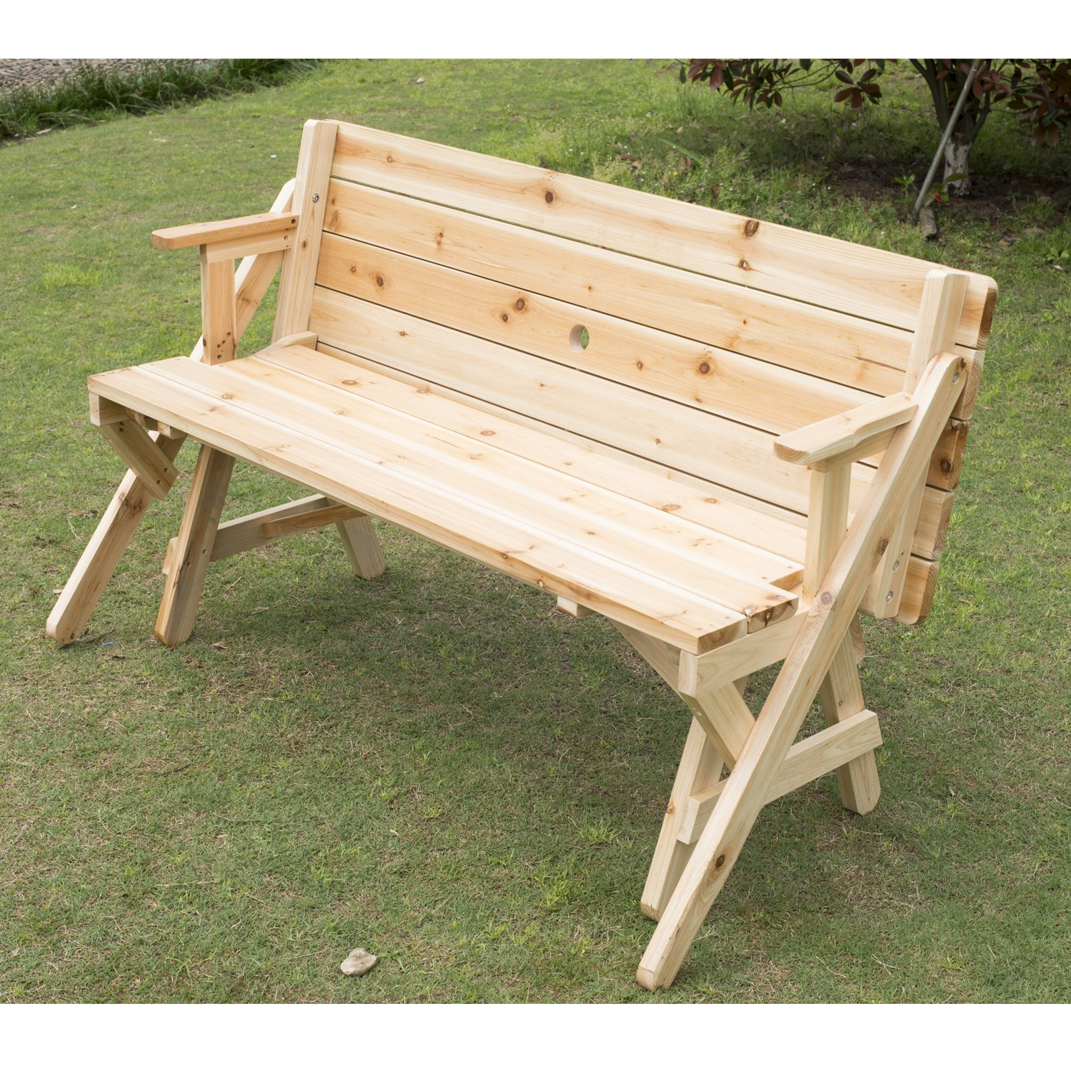 Lovely Garden Bench Table Part - 10: Amazon.com : Outsunny 2 In 1 Convertible Picnic Table U0026 Garden Bench :  Garden U0026 Outdoor