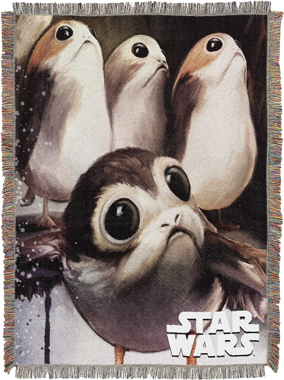 Multi Color Disney Star Wars: The Last Jedi 48 x 60 Feed the Porgs Woven Tapestry Throw Blanket