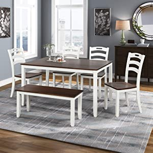 Harper & Bright Designs 6 Piece Dining Table Set with Bench, Wood Kitchen Table Set with Table and 4 Chairs, Ivory White and Cherry