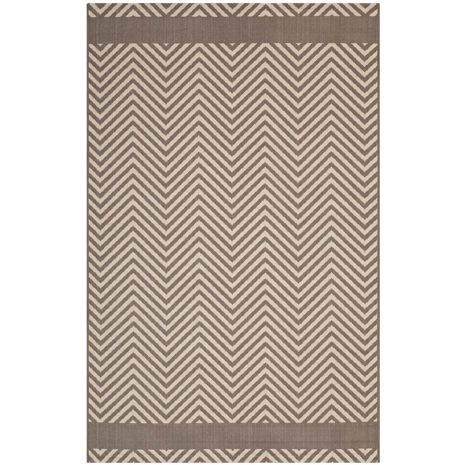 Modway R-1141A-810 Optica Chevron with End Borders 8' x 10' Indoor and Outdoor, 8x10, Light and Dark Beige