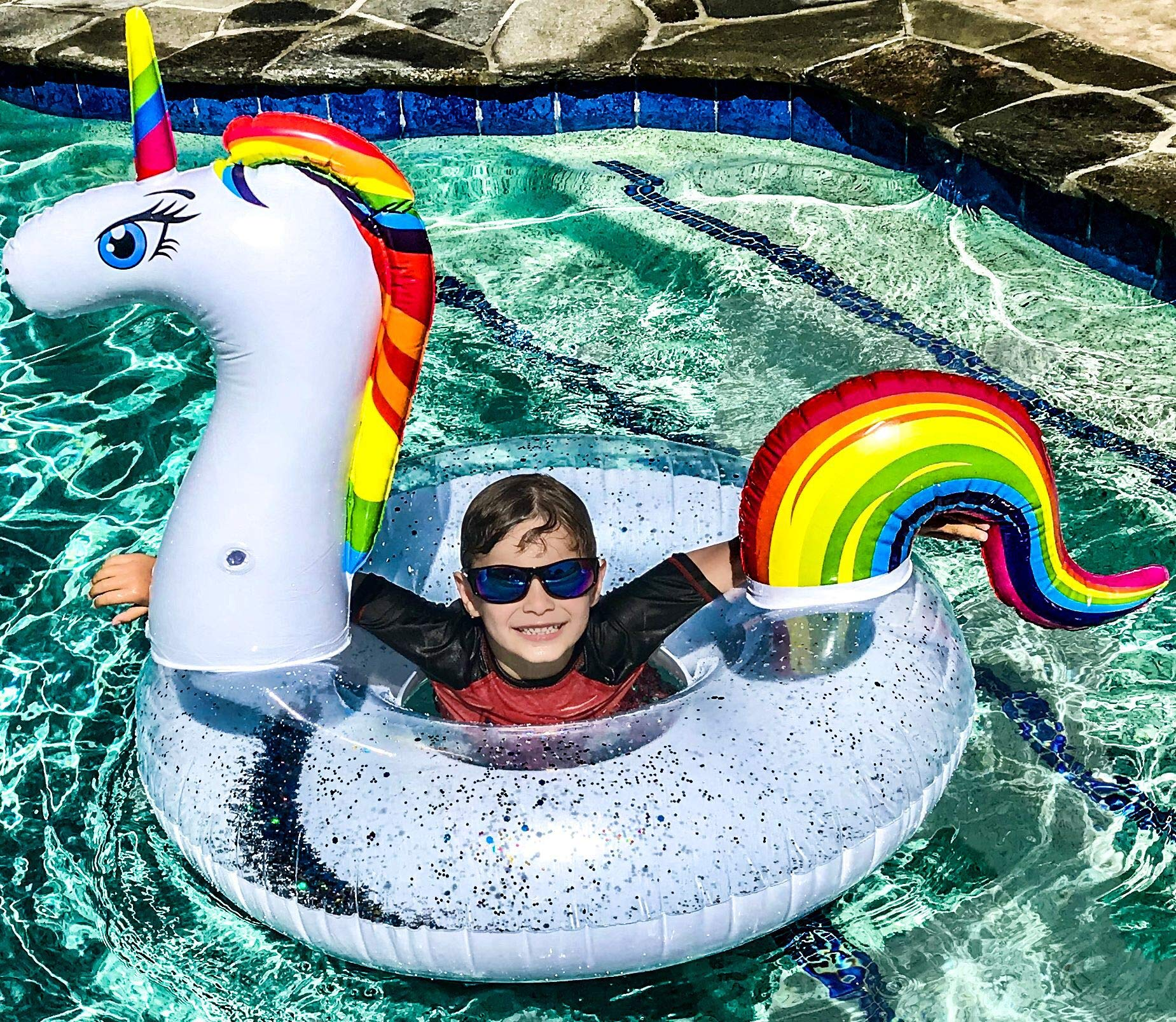 Unicorn Pool Floats for Kids - Glitter Filled - Ride ON Inflatable Unicorn Float for Pool Lake River RAFT - Giant… 4