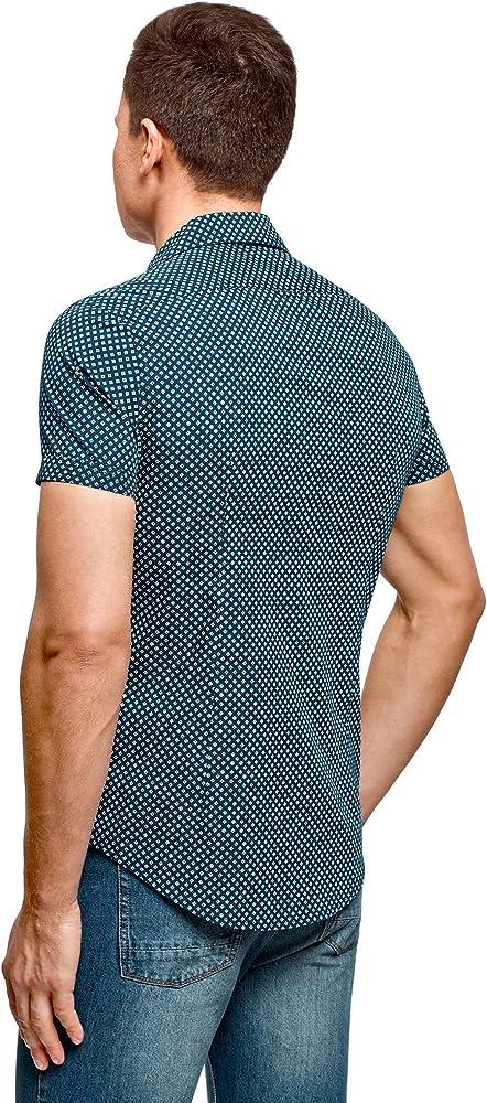 oodji Ultra Hombre Camisa Estampada Manga Corta, Azul, сm 41 / ES ...