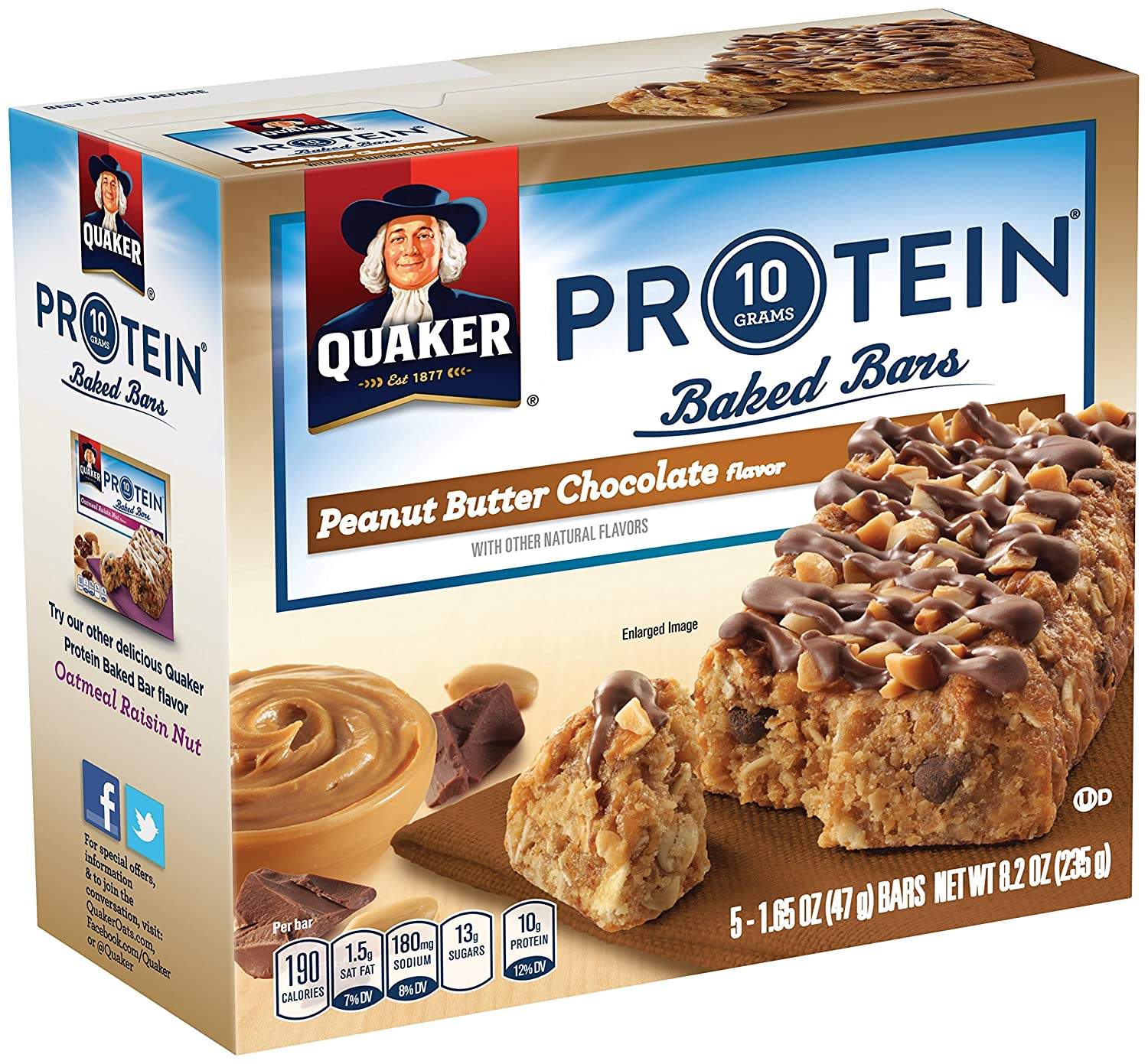 Quaker Baked Protein Bars Peanut Butter Chocolate Instant Oatmeal Jar 1 Carton 12 Pcs P Breakfast 5 Per Box Pack Of 8 Boxes Net Wt 82 Oz Grocery Gourmet Food