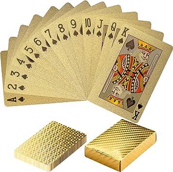 Maxstore Design Plastic Poker Cartas 100% Impermeable Juego de Mesa de Naipes de plástico Resistente a Las lágrimas, Cubierta Color Puro Oro: Amazon.es: Deportes y aire libre