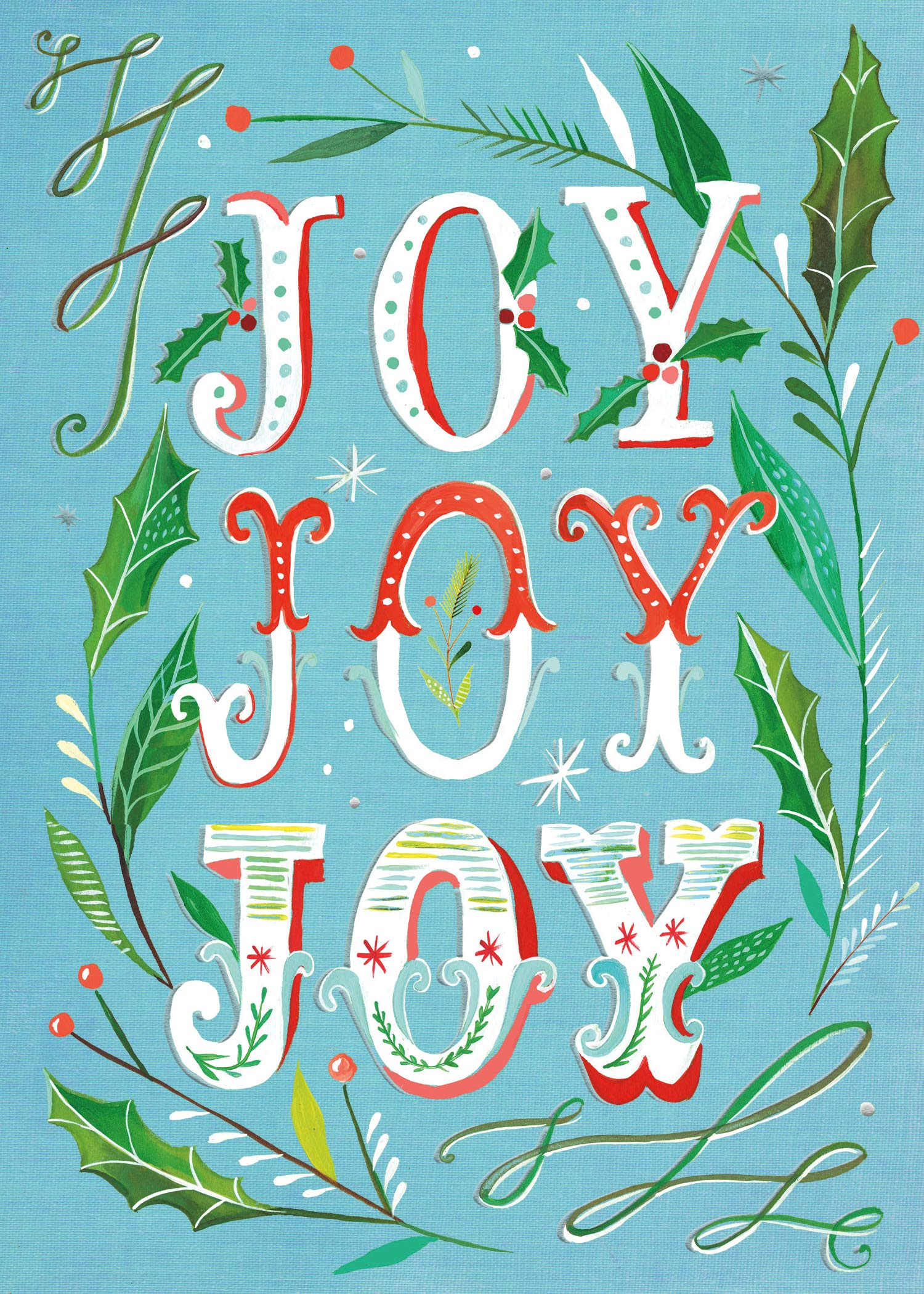 joy joy joy boxed holiday greeting cards with silver foil accents