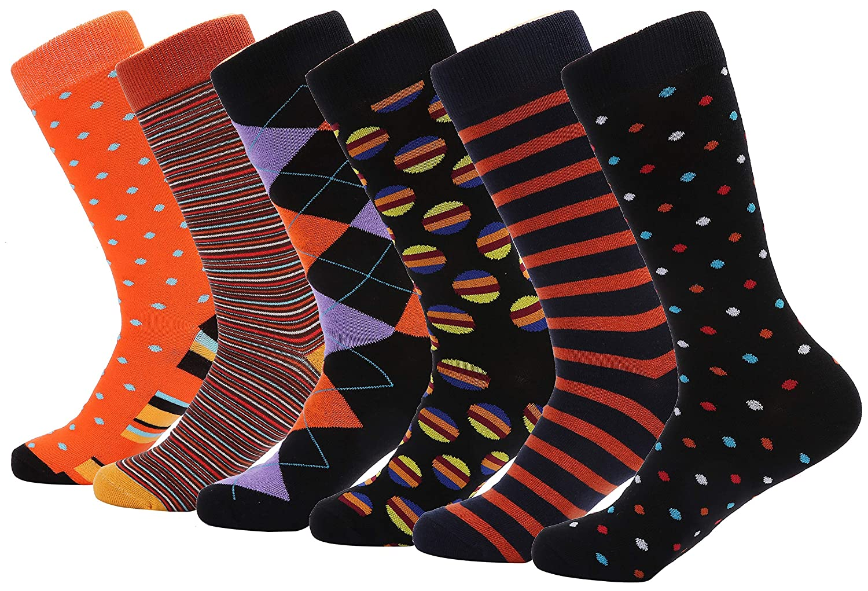 Mio Marino Mens Dress Socks 6 Pack Colorful Funky Socks for Men