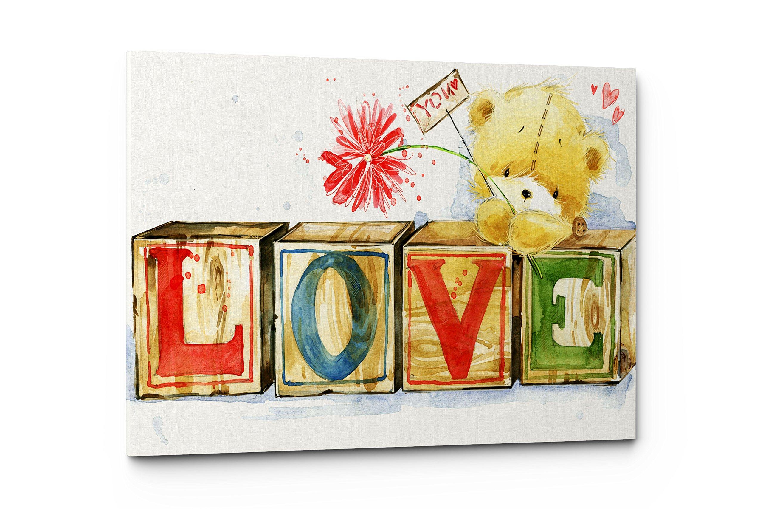 Emin Decor Nursery Children Room Canvas Wall Art Prints (17''W x 11''H, Teddy Bear Love)