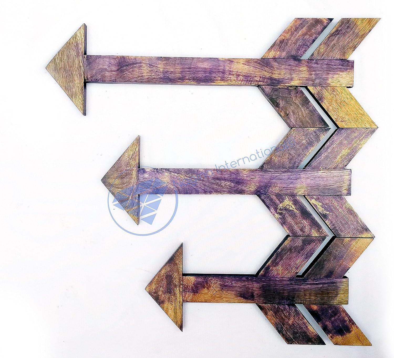 Nagina International Nautical Wooden Hand Craft Decorative Arrows Set of 3 - Home Decor Wall Hanging Gifts Pirate Nursery Ocean Beach Home Decor Gift