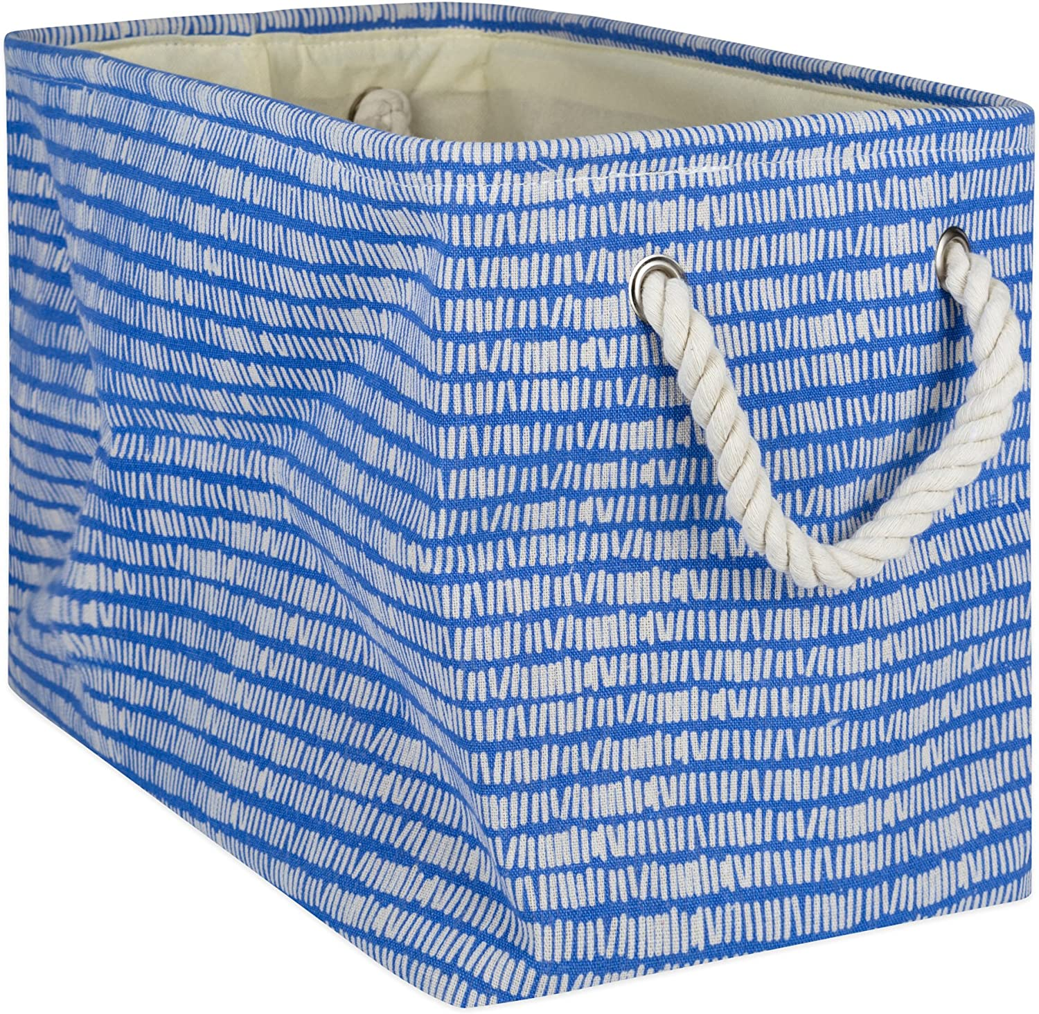 DII Collapsible Polyester Storage Basket or Bin with Durable Cotton Handles, Home Organizer Solution for Office, Bedroom Closet, Toys, Laundry, Large, Bright Blue
