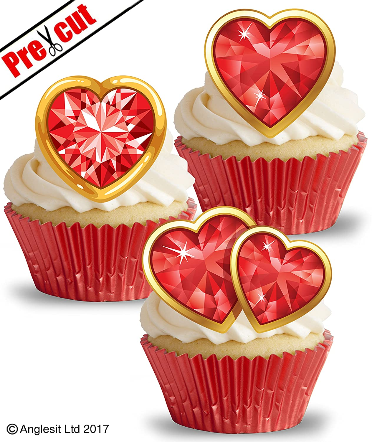 PRE-CUT RED /& GOLD WOMEN ACCESSORIES II EDIBLE WAFER CUP CAKE TOPPER DECORATION