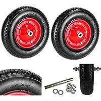 2x Neumáticas carretilla rueda neumático de aire Diámetro 400mm Rueda de repuesto carretilla carretilla Neumáticos 4.00–8+ eje