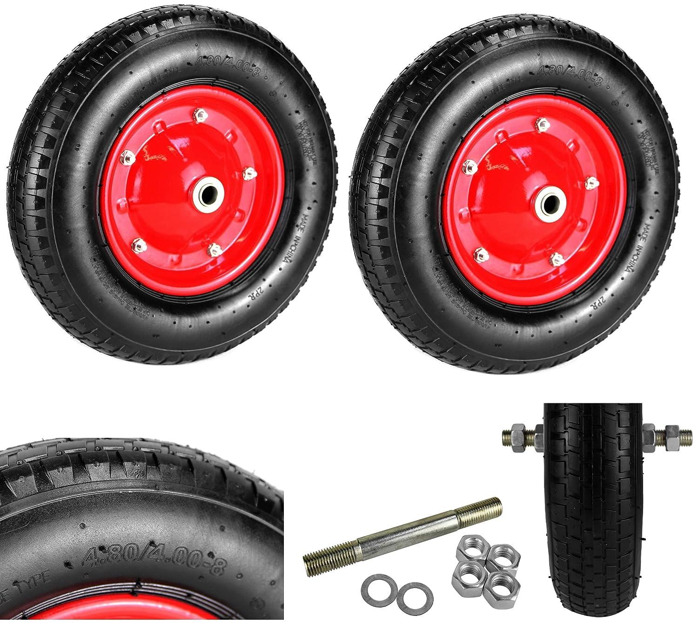 2 x Neumáticas carretilla rueda neumático de aire Diámetro 400 mm Rueda de repuesto carretilla carretilla Neumáticos 4.00 - 8 + eje: Amazon.es: Industria, ...