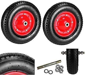 2 x Neumáticas carretilla rueda neumático de aire Diámetro 400 mm Rueda de repuesto carretilla carretilla