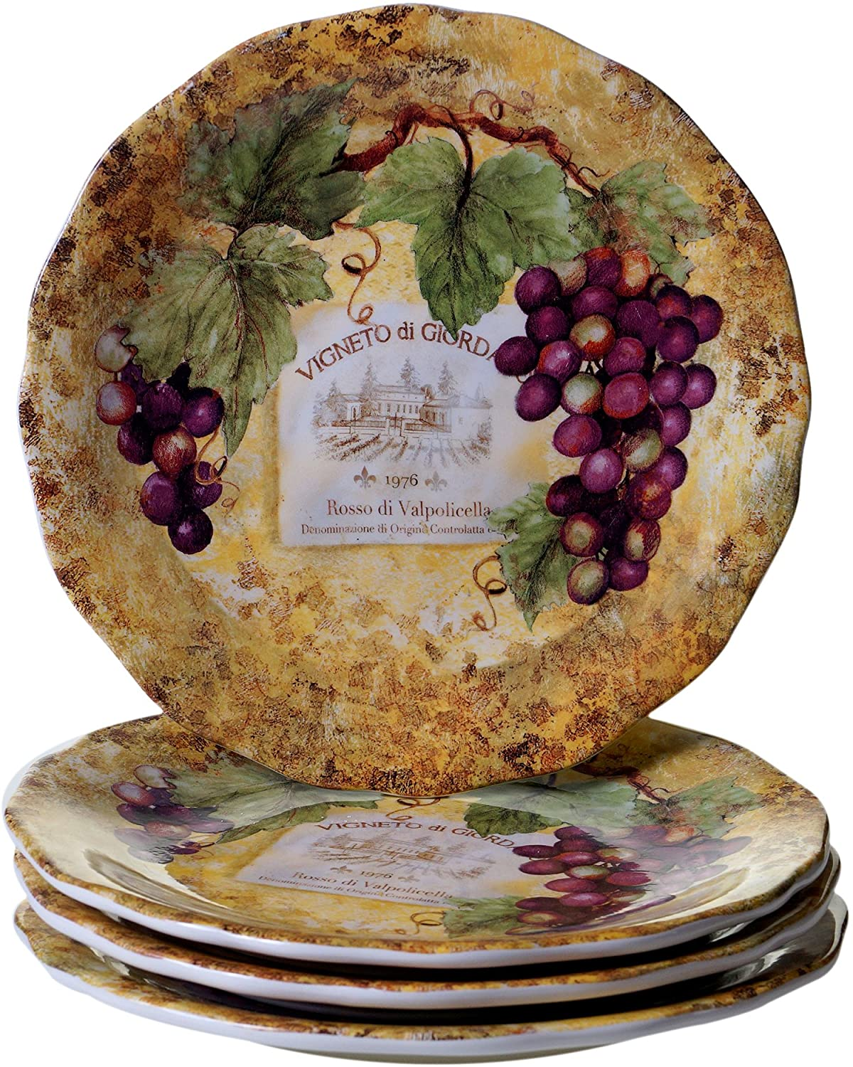 Certified International Gilded Wine Dinner Plates (Set of 4), 10.75