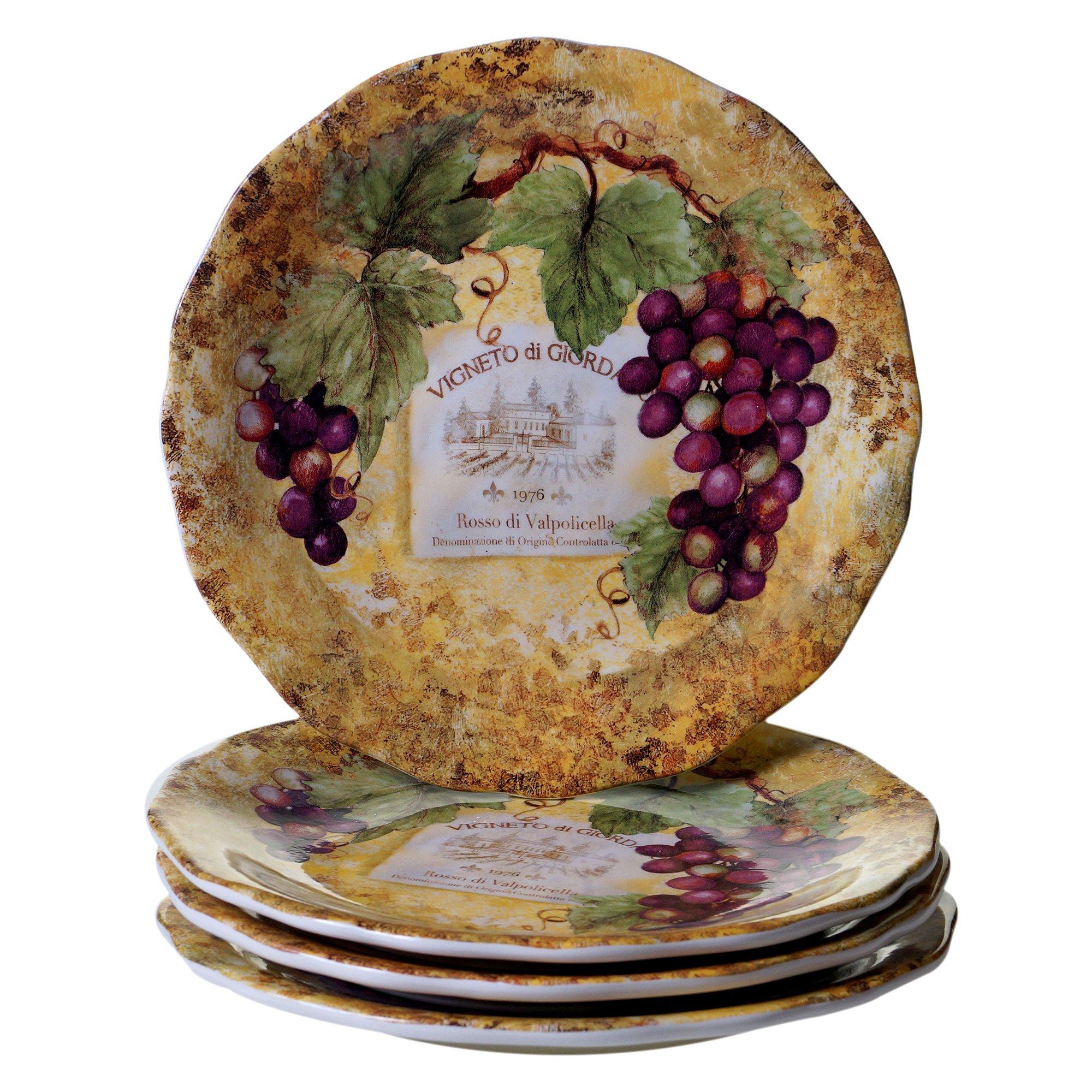 Certified International Gilded Wine Dinner Plates (Set of 4), 10.75'', Multicolor