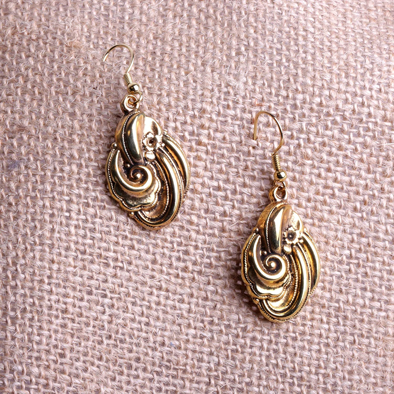 Boucles d/'oreilles pendantes métal doré garanti sans nickel