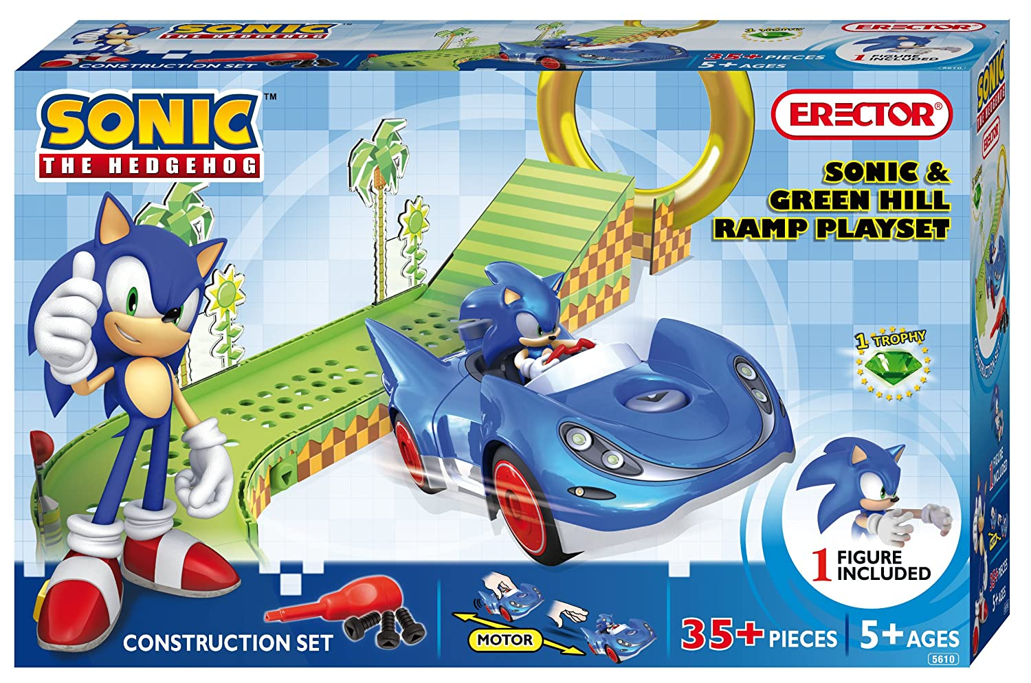 Erector Sonic the Hedgehog Construction Playset - Sonic and verde Hill Ramp