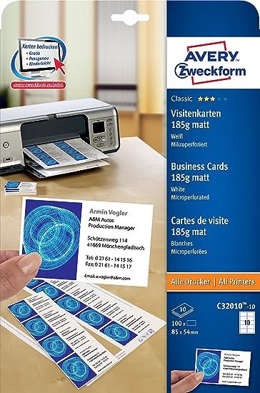 Avery Zweckform C32010 10 Classic Visitenkarten 100 Stück