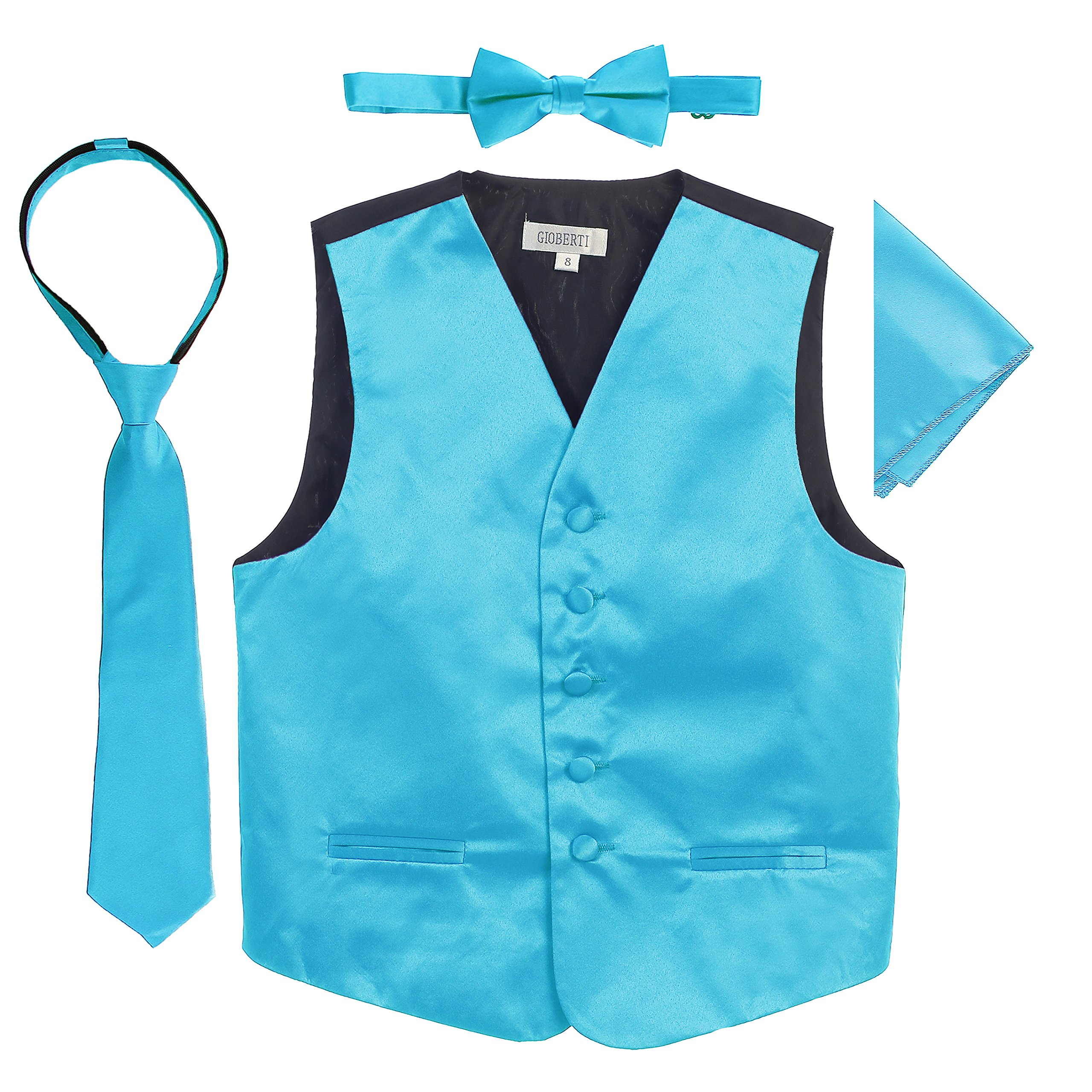 Gioberti Boys 4pc Satin Formal Vest Set, Turquoise, 4-5