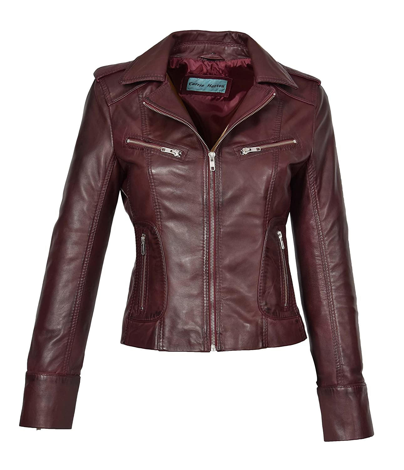 Womens Real Lambskin Leather Biker Style Fitted Casual Jacket Kim Dark Red House of Leather
