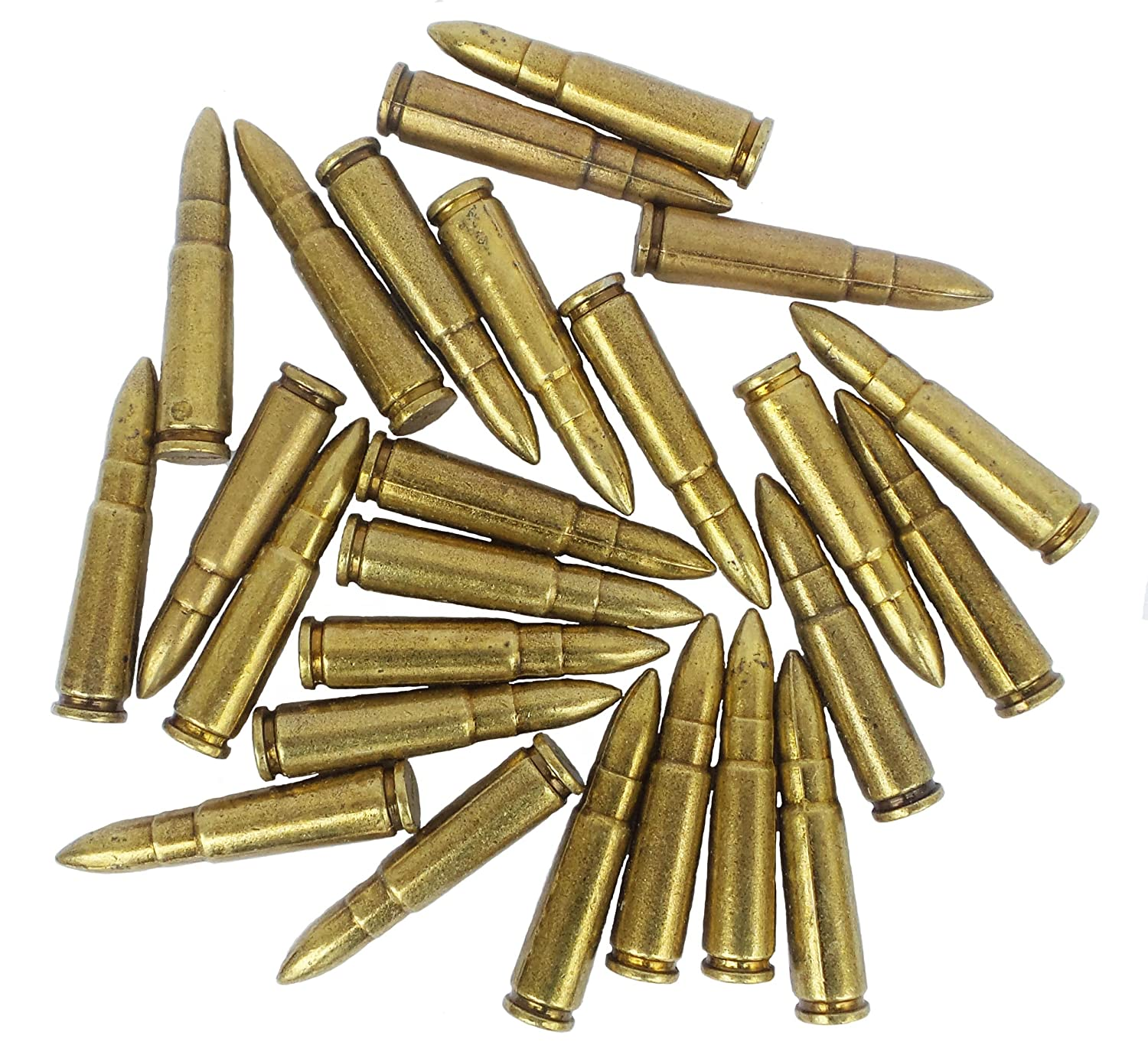 Denix 25 Dummy Rounds Solid Metal Display Pieces AK 47- Fits in 38/357 Cal  Loops