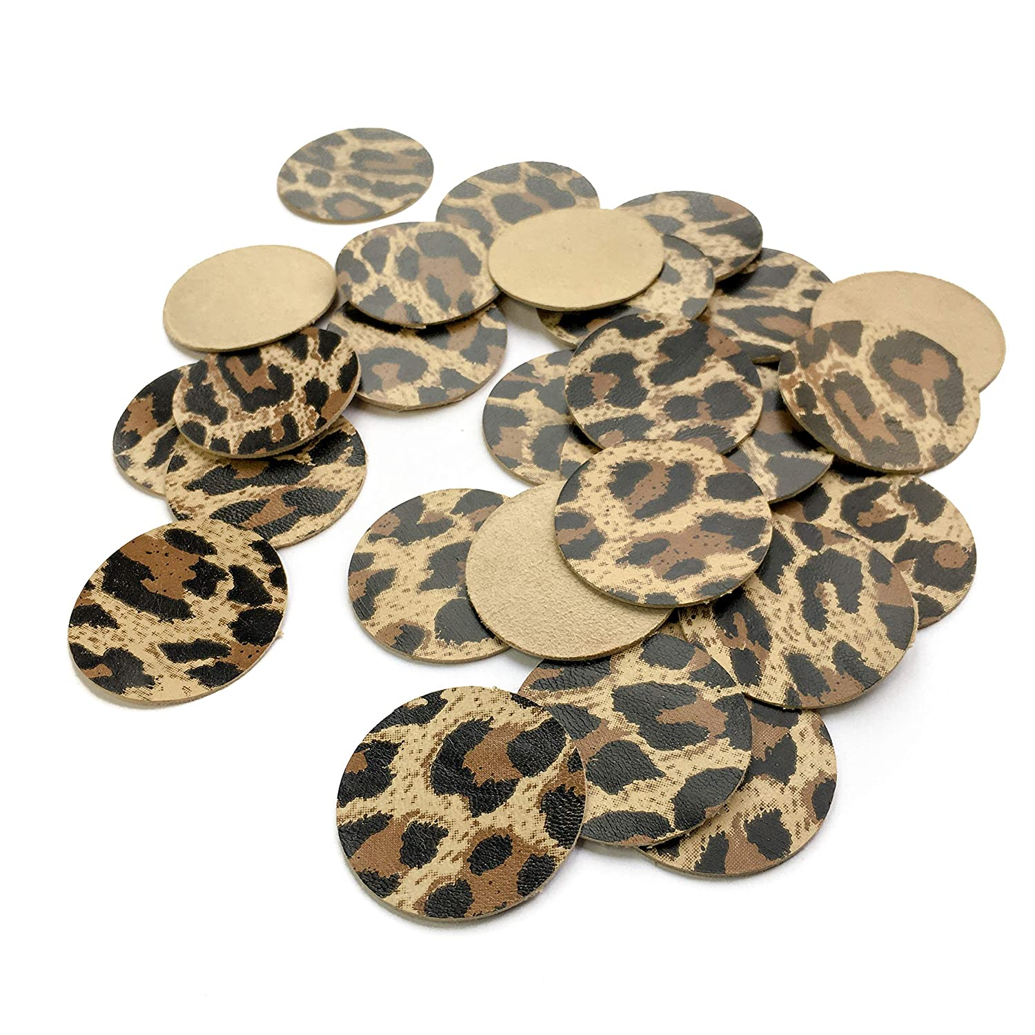 Leopard Print Leather Earring Supplies for Jewelry Making Leather Craft Set Circle Leather Classic Leopard, 2