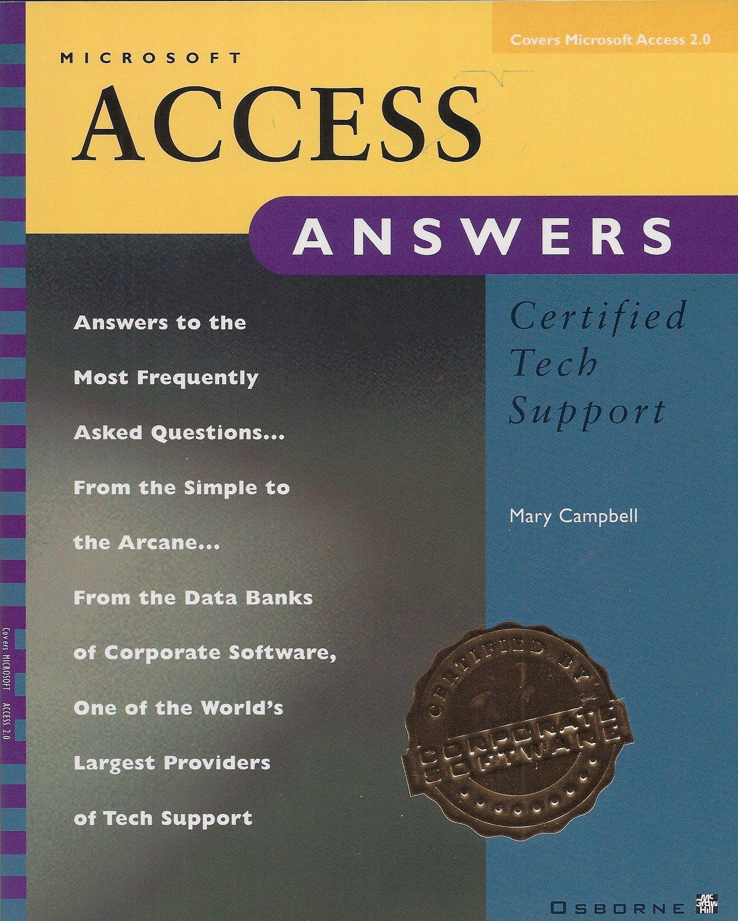 Microsoft access answers certified tech support covers microsoft microsoft access answers certified tech support covers microsoft access 20 mary campbell 9780078820694 amazon books xflitez Choice Image