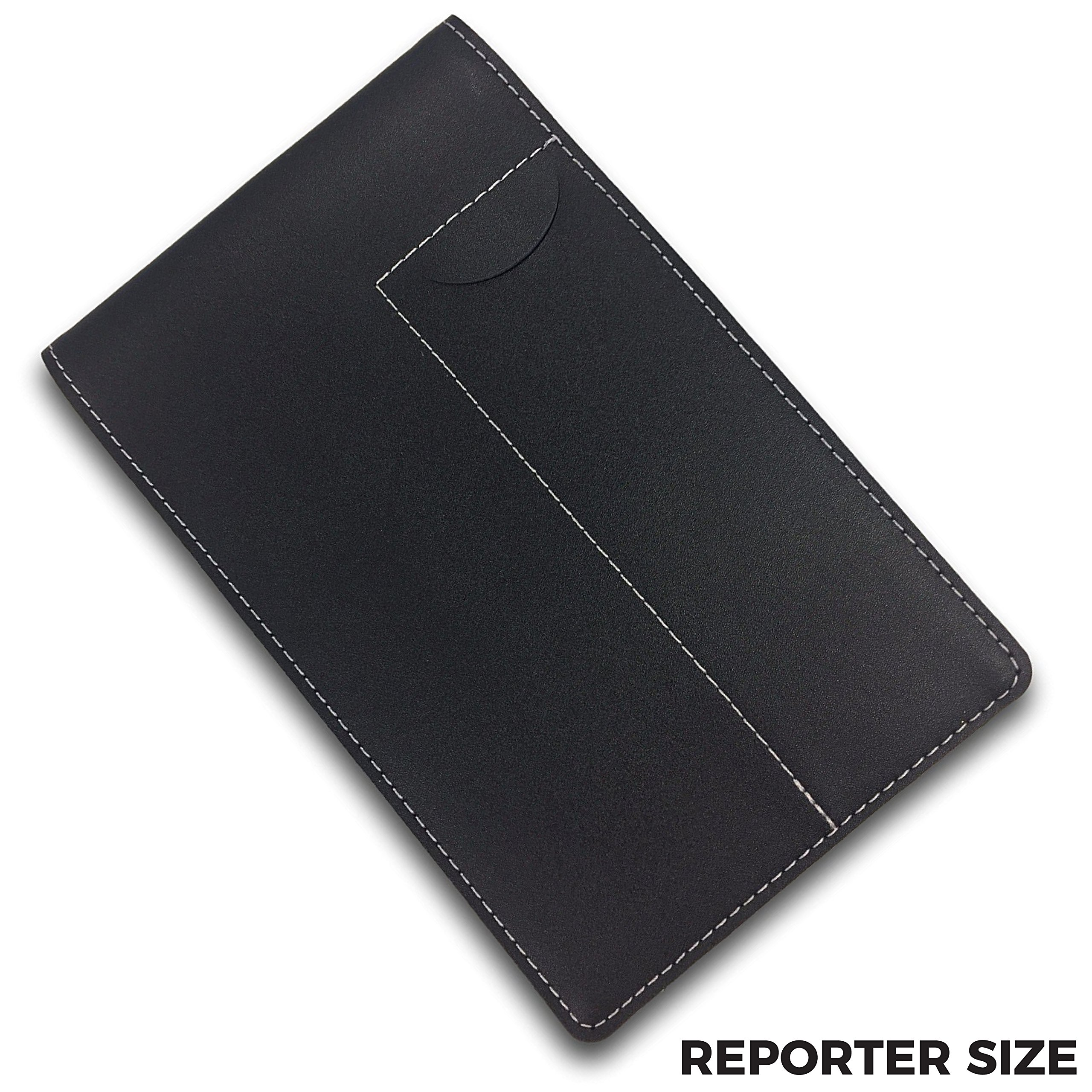 "Reporter's Notebook Cover and Holder for Extra Stability – 4"" x 8"" Black Leather, Includes a Pen Pocket"