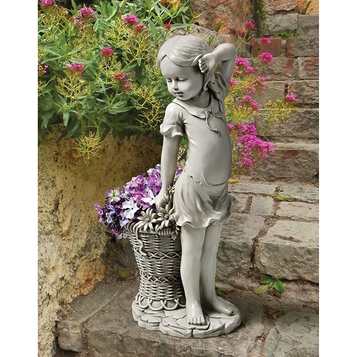 Design Toscano EU9294 Frances The Flower Girl Outdoor Garden Statue with Planter, 21 Inch, Antique Stone
