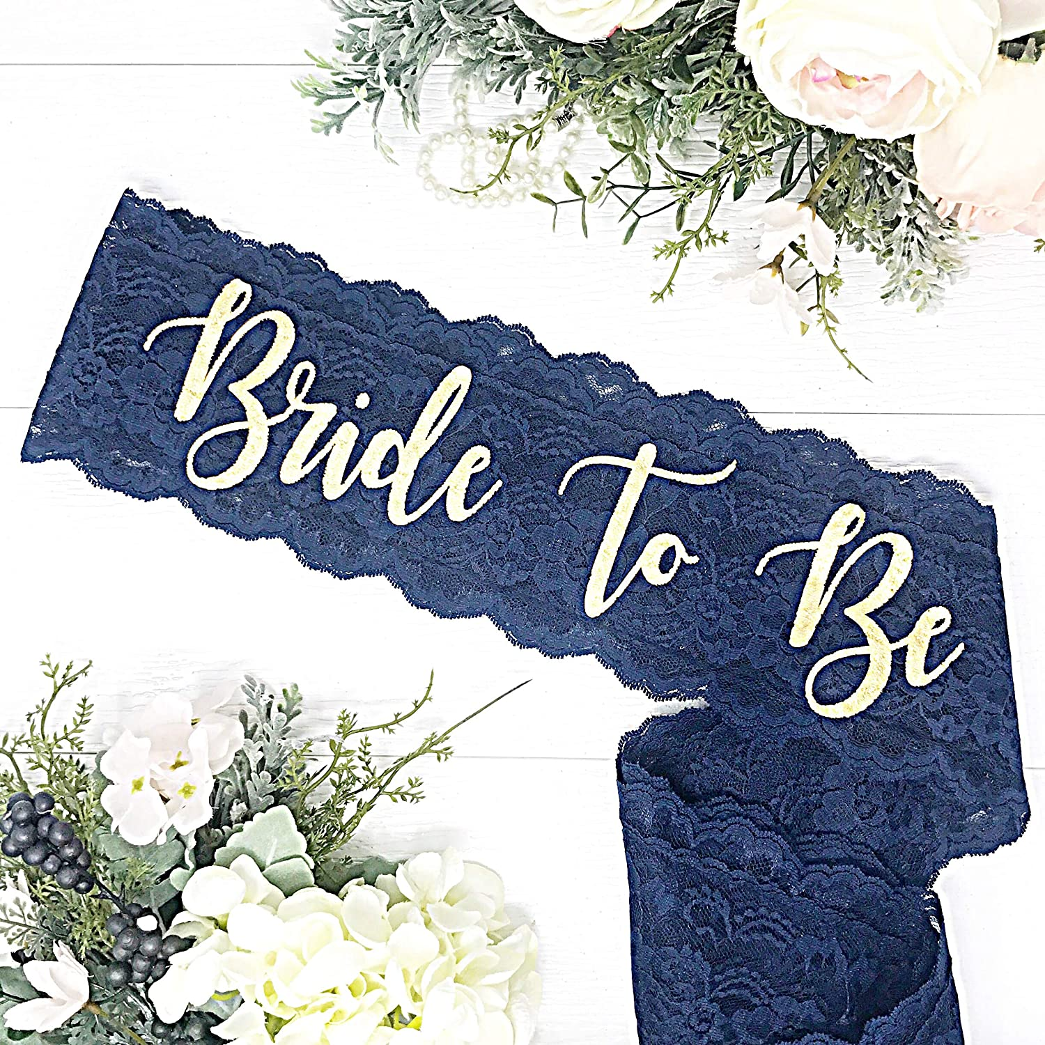 Lace Bachelorette Sash - Navy Lace - Gold