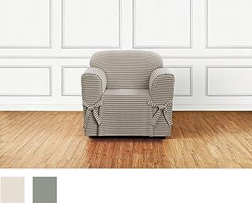 Sure Fit Horizontal Club Stripe 1 Piece   Chair Slipcover   Tan (SF46206)
