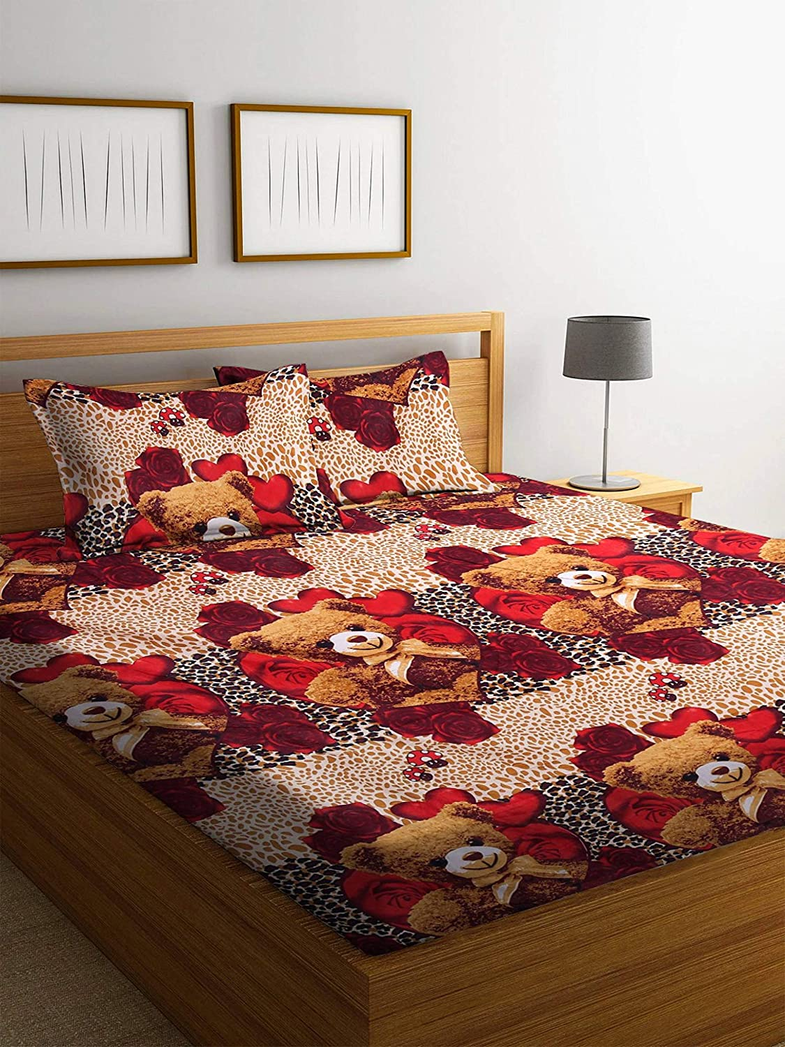 Exopick 144 TC Cotton Double 3D Printed Bedsheet (Pack of 1, Brown)