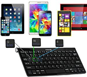 Navitech Black Wireless Bluetooth Multi OS Keyboard Compatible With All Android / Windows & IOS Tablets Including The Acer Iconia One 7 B1-760HD / Acer Iconia One 8 B1-830 / Acer Predator 8 / Acer Iconia Tab 10 A3-A30