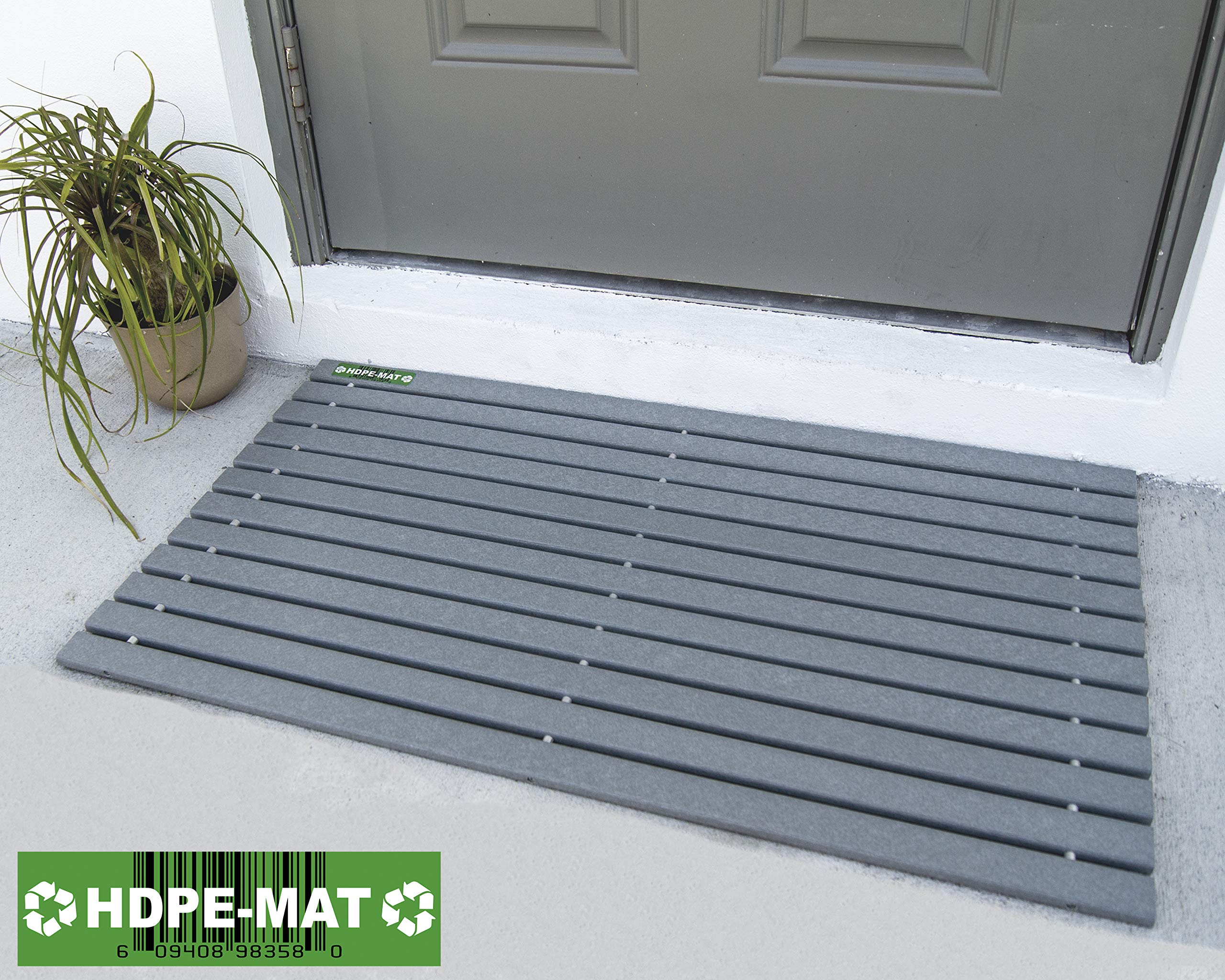HDPE-MAT UV Resistant Heavy Duty Waterproof Front Door Mat | Stylish Handcrafted Recycled Plastic Poly Lumber Slats - Eco Friendly For Outdoor Entrance Patio Garage Entry Driftwood Gray