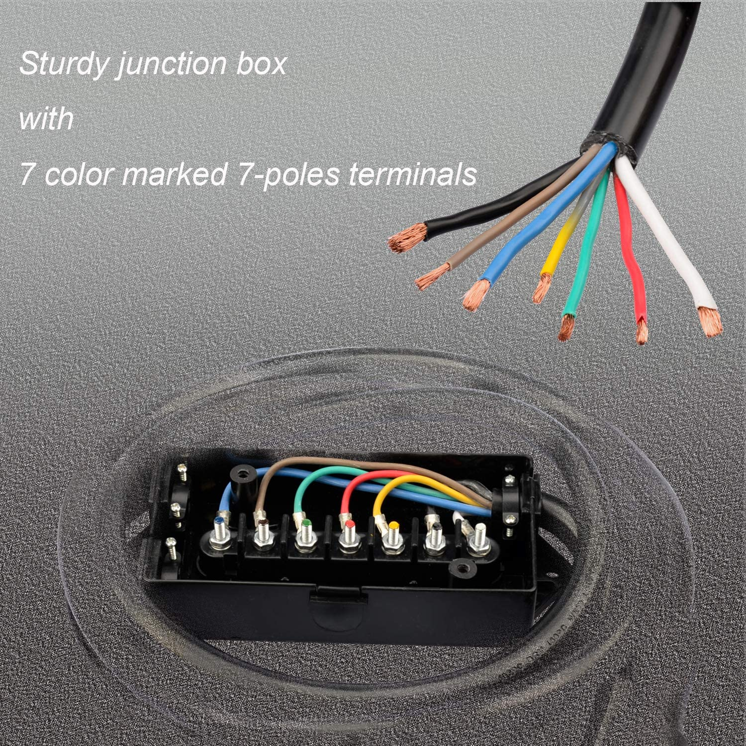 Trailer Connector Cable Wiring Harness with Waterproof Junction Box RVMATE 7 Way 8 Feet Plug Trailer Cord Kit,Include 12V Breakaway Switch and Plug Holder
