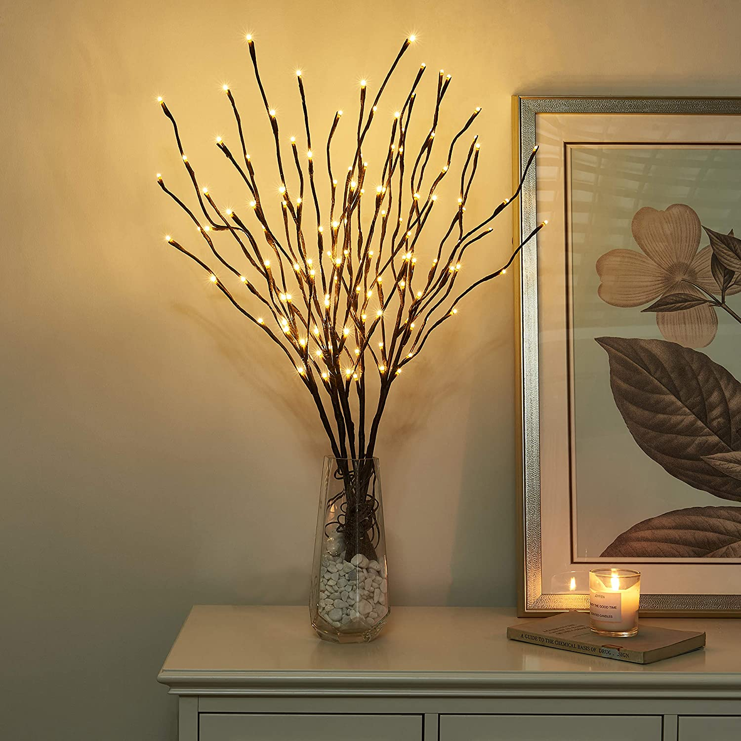 """Vanthylit Set of 2 3PK 30"""" Brown Lighted Twig Stakes 120 Warm White LED for Outdoor and Indoor (Vase Excluded)"""