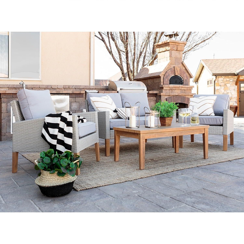 Amazon.com : WE Furniture 4-Piece Eucalyptus and Rattan Deep Seating Patio  Set : Garden & Outdoor - Amazon.com : WE Furniture 4-Piece Eucalyptus And Rattan Deep Seating
