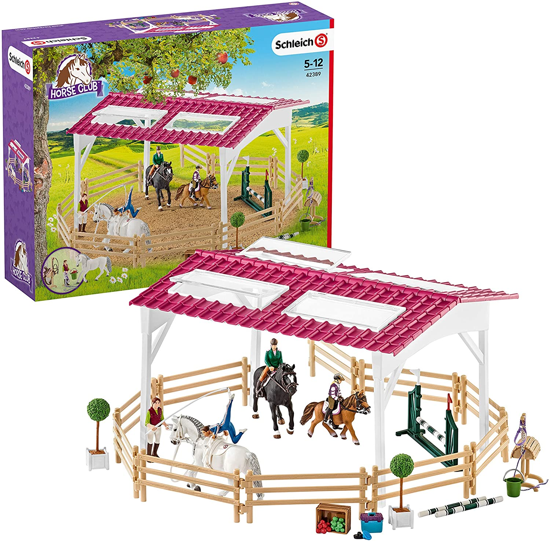 Schleich-42389 Escuela de equitación con amazonas, caballos y accesorios, Colección Horse Club, Multicolor (42389)