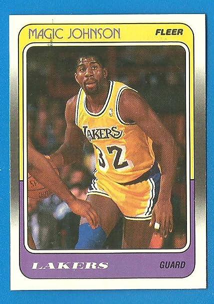 d8b521240f1 1988 - 89 Fleer MAGIC JOHNSON Card 67 Lakers NM B at Amazon s Sports ...