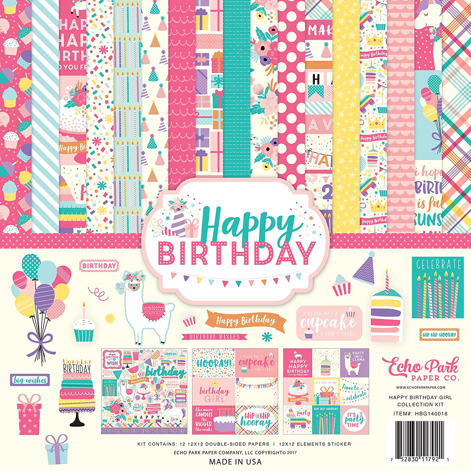 Echo Park Paper Company Happy Birthday Girl Collection Kit HBG140016
