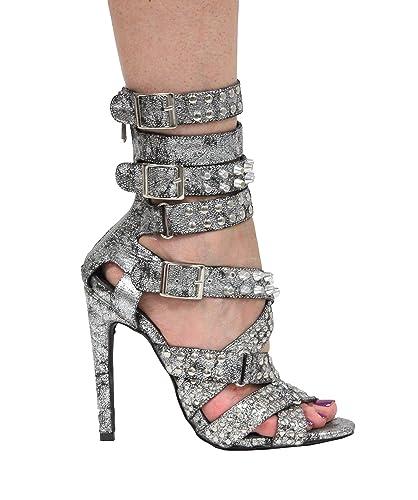 4837302278e CAPE ROBBIN Suzzy124 Gunmetal Silver Strappy Studded high Heel Single Sole  Rocker Sandals (8.5)