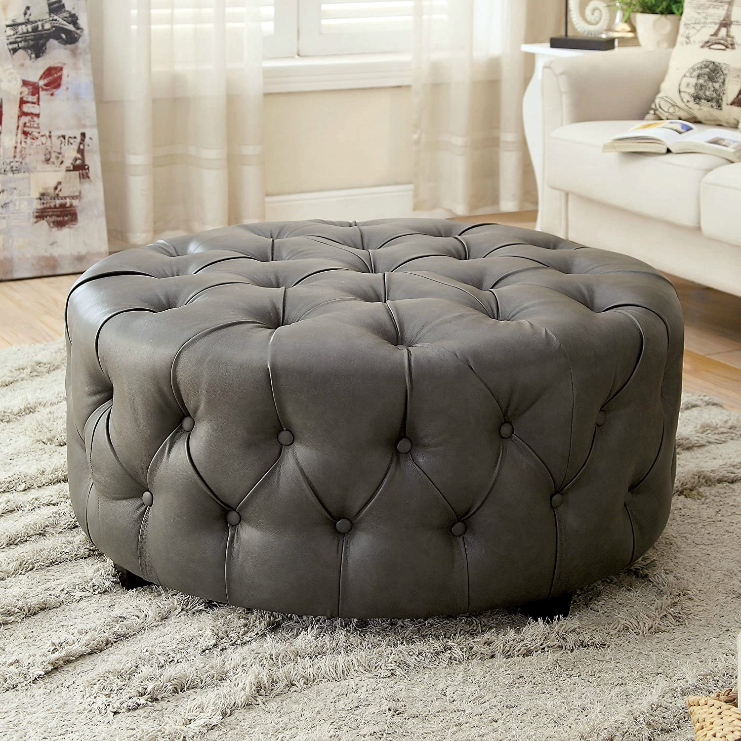 Amazon com tufted round leather ottoman large grey cocktail modern kitchen dining