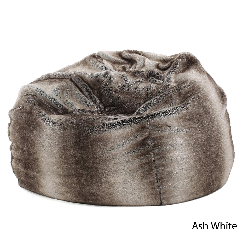Amazon Meridian Soft Faux Fur Ash White Fabric Bean Bag Chair