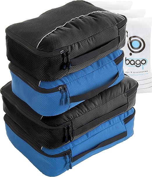 169 opinioni per 4Pz Bago Cubi Di Imballaggio- Set per Viaggi (2Black+2BlueTale)+ 6Pz Sacchetti