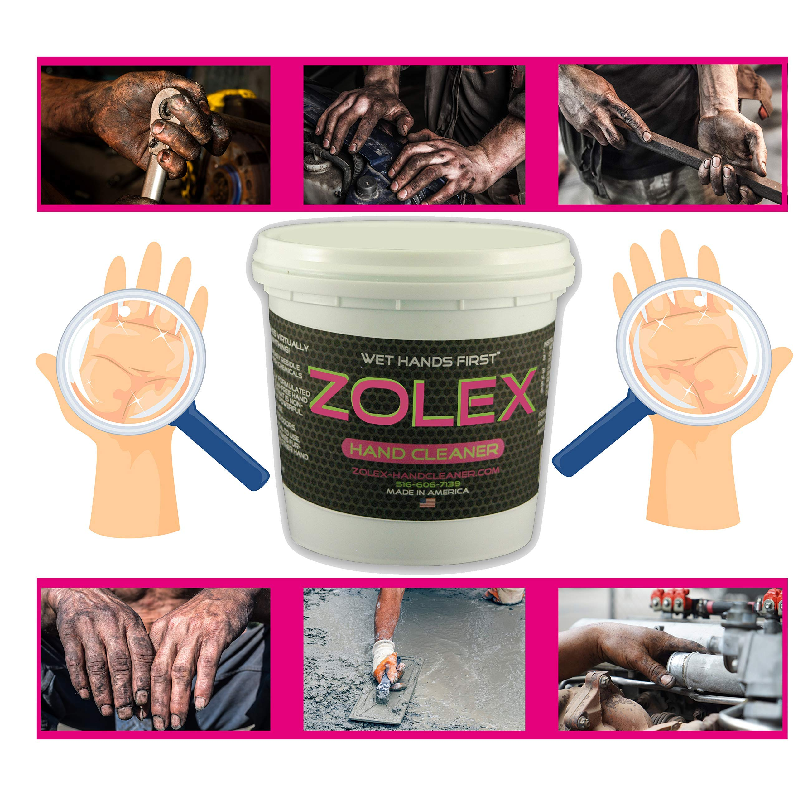 Zolex Water Activated Hand Cleaner for Working Hands| Stain Remover for Heavy Duty Workers | Grease Remover for Mechanics and Heavy Duty Workers - Non-Toxic Petroleum Free | Shop-Sized 3 lb. Tub | by Zolex (Image #4)