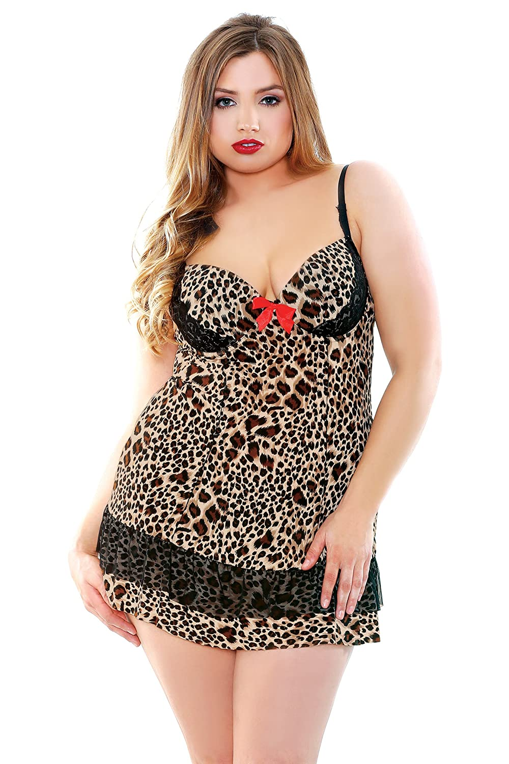 Fantasy Lingerie Women's Plus-Size Leopard Underwire Babydoll with G-String P404