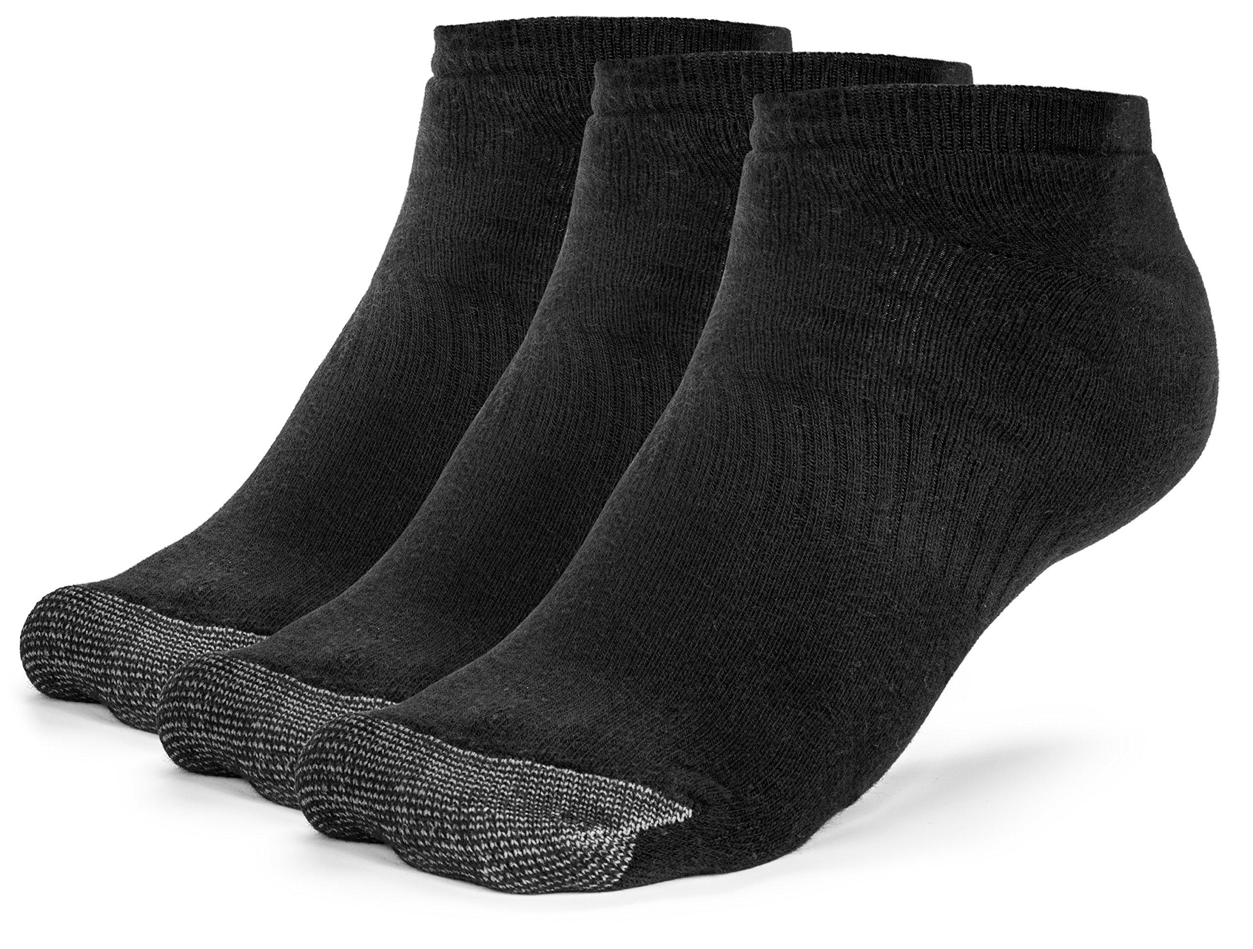 Galiva Men's Cotton Extra Soft Low Cut Cushion Socks - 3 Pairs, Medium, Black