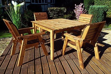 Home Gift Garden - Mesa de jardín Cuadrada de Madera y 4 ...