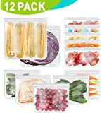 Reusable Storage Bags - 12 Pack EXTRA THICK Freezer bags (2 Reusable Gallon Bags & 5 Reusable Sandwich Bags & 5 Reusable Snack Bags) FDA Grade LEAKPROOF Lunch Bag for Food Travel Items Storage